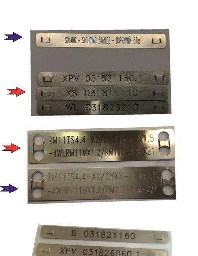 Nerezové kabelové štítky, dvě velikosti